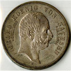 Saxony, 1904 E, 5 Mark, KM#1262, Choice AU to Uncirculated.