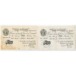 Bank of England. 1952-1956. Pair of Issued Banknotes.