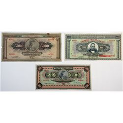 Bank of Greece. 1925-1932. Trio of Issued Banknotes.
