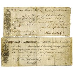 Francis Baring & Co. & Thomas Dickason & Co. 1800-1811. Pair of Exchanges.