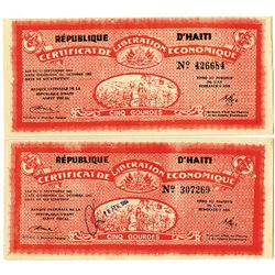 Republique D'Haiti, Certificate De Liberation Economique, 1962 Banknote Pair.