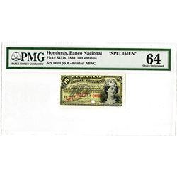 Banco Nacional Hondureno. 1889. Specimen Banknote.