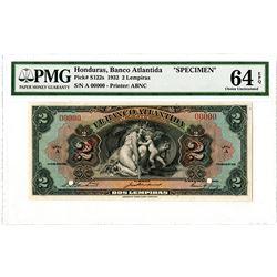 Banco Atlantida. 1932. Specimen Banknote.