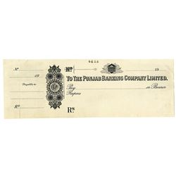 Punjab Banking Company Limited. ND  (19xx, ca.1900-1920). Proof Check by Waterlow & Sons.