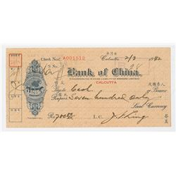 "Bank of China, 1942, ""Calcutta, India"" Branch Issued Check."