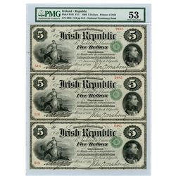 Irish Republic, 1866 Issued Uncut Sheet of 3 $5 Notes, Printed by Continental BNC.