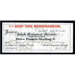 Irish Emigrant Society, 1895, 3 Pound Sterling Donation Receipt.
