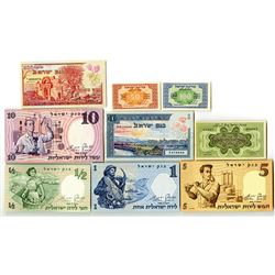 Bank of Israel & Others. 1952-1958. Lot of 9 Issued Notes.