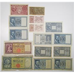 Regno d'Italia, Banca d'Italia and Others. 1914-1947. Lot of 14 Issued Notes.