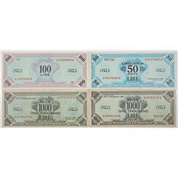 Allied Military Currency, 1943 Banknote Quartet.