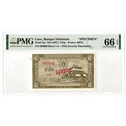 Banque Nationale du Laos. ND (1957). Highest Graded Specimen Banknote.