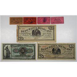 Division Del Bravo, Gobierna Constitucionalista Republica Mexicana & Others. 1914-1915. Lot of 7 Iss
