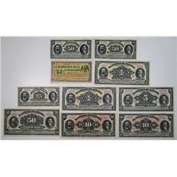Estado de Sonora & Tesoreria de la Federacion (Guayamas). 1913-1915. Lot of 10 Issued Notes.