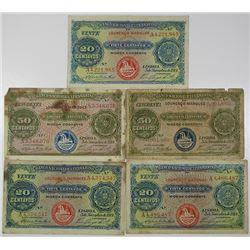 Banco Nacional Ultramarino. 1914. Lot of 5 Issued Notes.