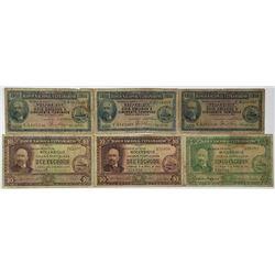 Banco Nacional Ultramarino. 1941. Lot of 6 Issued Notes.