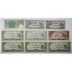 Japanese Government. ND (1942). Lot of 9 Issued Notes.
