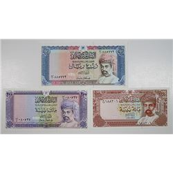 Central Bank of Oman. 1987-1989. Lot of 3 Issued Notes.