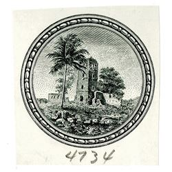 """Republica de Panama, 1941 """"Arias"""" Issue Proof Vignette of Old fortress used on 10 Balbao Note."""