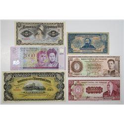 Banco Central, Banco de la Republica, & Banco del Paraguay. ca. 1907-2007. Lot of 6 Issued Notes.