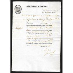 Peruvian Republic 1826 Financial Document