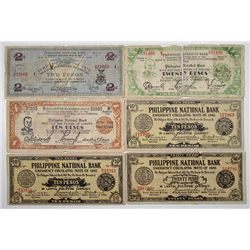 Philippine National Bank. 1941-1944. Lot of 6 Issued Notes.