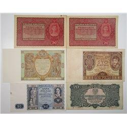 Bank Polski & Polska Krajowa Kasa Pozyczkowa. 1919-1994. Lot of 12 Issued Notes.