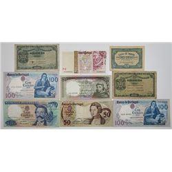Banco de Portugal & Casa da Moeda. 1918-1997. Lot of 9 Issued Notes.