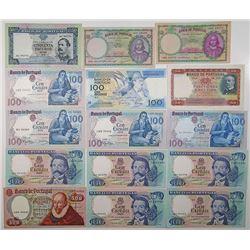 Banco De Portugal, 1946 to 1981 Banknote Assortment.