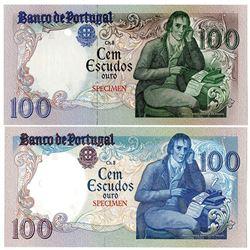 Banco de Portugal. 1980-1985. Lot of 2 Specimen & Color Trial Notes.