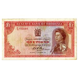 Reserve Bank of Rhodesia. 1967. Issued Note.