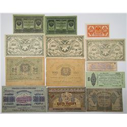 Various Russian Issuers. 1919-1923. Lot of 24 Issued Notes.