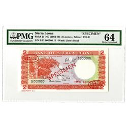 Bank of Sierra Leone. ND (1964-1970). Specimen Note.