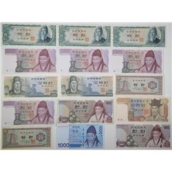 Bank of Korea. 1965-2007. Lot of 15 Issued Notes.