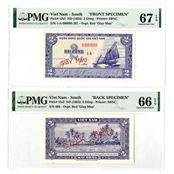 National Bank of Viet Nam. ND (1955). Front & Back Specimen Banknote Pair.