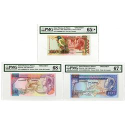 Banco Central de S.Tome e Principe. 1993-1996. Lot of 3 Specimen Notes.