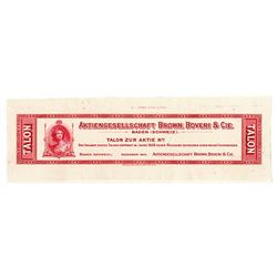 Aktiengesellschaft Brown, Boveri & Cie. 1928. Proof Talon Coupon.