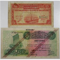 Banque de Syrie et du Liban & Republique Syrienne. 1939-1942. Lot of 2 Issued Notes.