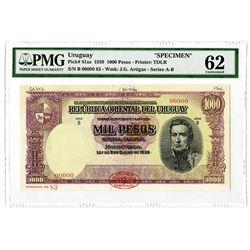 Departamento de Emision del Banco de la Republica Oriental del Uruguay. 1939 (1950). Specimen Note.
