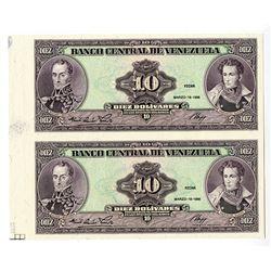Banco Central De Venezuela, 1986 Progress Proof Uncut Pair.