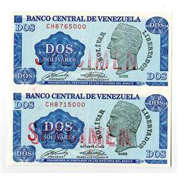 "Banco Central De Venezuela, 1989 Essay Uncut Specimen Pair of ""Crane"" Paper Trial Banknote"