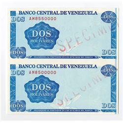 """Banco Central De Venezuela, 1989 Essay Uncut Specimen Pair of """"Dotmar"""" Paper Trial Banknote"""