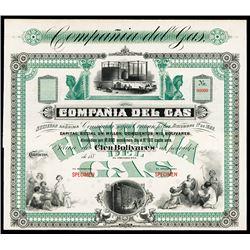 Compania del Gas, 1880's Specimen Stock Certificate