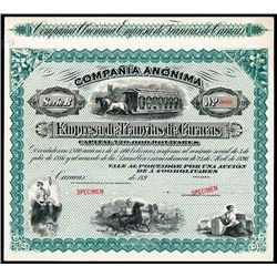 Empresa de Tranvias de Caracas, 1890's Specimen Stock Certificate