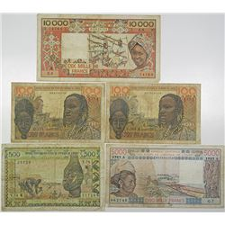 Banque Centrale des Etats de l'Afrique de L'Ouest. 1959-1990s. Lot of 5 Issued Notes.