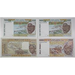 Banque Centrale des Etats de l'Afrique de L'Ouest. 1988-2002. Lot of 4 Issued Notes.