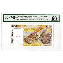 Banque Centrale des Etats de 'Afrique de l'Ouest. 1991. Specimen Note.