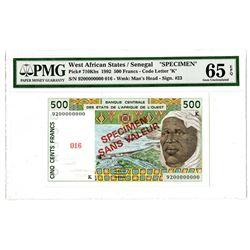 Banque Centrale des Etats de 'Afrique de l'Ouest. 1992. Specimen Note.