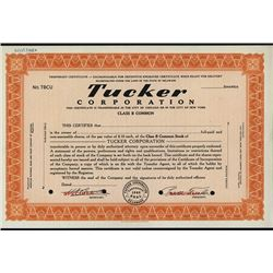 Tucker Corporation - 1946, Specimen Temporary Stock Certificate