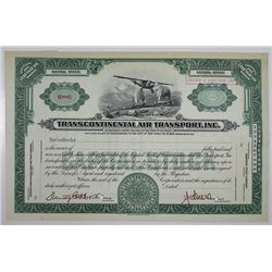 Transcontinental Air Transport, Inc. Specimen Stock Certificate Predecessor Company to TWA