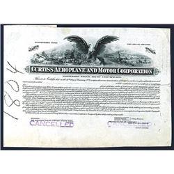 Curtiss Aeroplane & Motor Co., 1916 Progress Proof Stock Certificate